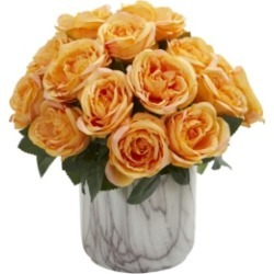 Nearly Natural Rose Artificial Arrangement in Marble Finish Vase