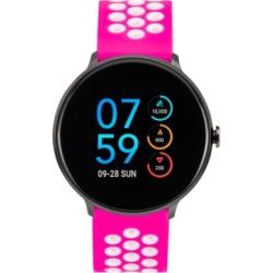 iTouch Women's Fuchsia & White Silicone Strap Touchscreen Sport Smart Watch 43.2mm