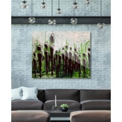 """Creative Gallery The Crowd on Green Abstract 20"""" x 24"""" Acrylic Wall Art Print"""
