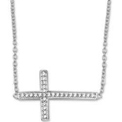 "Giani Bernini Cubic Zirconia East-West Cross 18"" Pendant Necklace in Sterling Silver, Created For Macy's"