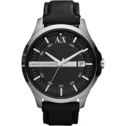 AX Armani Exchange Watch, Men's Black Leather Strap 46mm AX2101