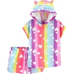 Carter's Little & Big Girls 2-Pc. Unicorn Hooded Top & Shorts Pajamas Set