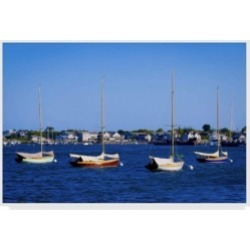 "American School Four Boats in Nantucket Canvas Art - 37"" x 49"""