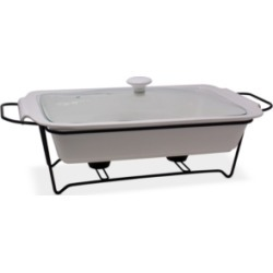 Sedona Ceramic Chafing Casserole Server with Glass Lid & Rack