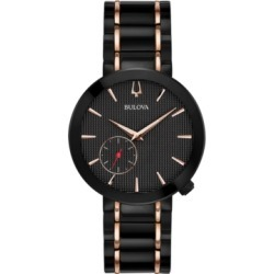 Limited Edition Bulova Women's Special Latin Grammy Edition Dress Black & Rose Gold-Tone Stainless Steel Bracelet Watch 35mm