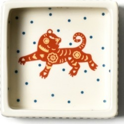 Coton Colors by Laura Johnson Chinese Zodiac Tiger Square Trinket Bowl