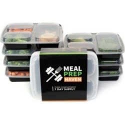 California Home Goods Meal Prep Haven 3 Compartment Food Containers, Set of 14