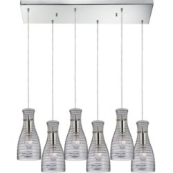 Strata 6 Light Pendant in Polished Chrome and Clear Glass