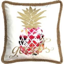 Mod Lifestyles Tropical Collection Hawaiian Printed Pineapple Jute Trim Pillow, 20