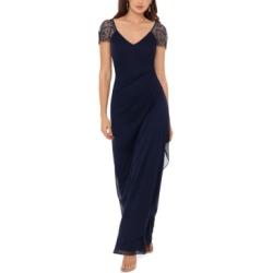 Xscape Beaded Cap-Sleeve Gown