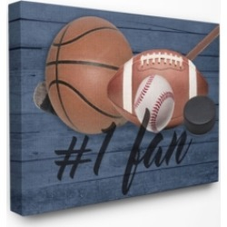 "Stupell Industries #1 Fan Sports Plank Canvas Wall Art, 30"" x 40"""