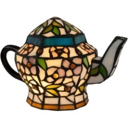 Lavish Home Teapot Lamp-Tiffany Style Stained Glass Table Lamp