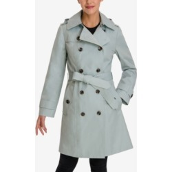 London Fog Petite Double-Breasted Hooded Trench Coat found on MODAPINS from Macy's for USD $135.00