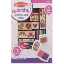 Melissa & Doug Created by Me! Wooden Friendship & Fun Stamp Set (9 Stamps, 5 Markers, 2-Color Ink Pad)