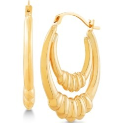 Double Hoop Ridge Drop Earrings in 14k Gold found on Bargain Bro India from Macy's for $119.60