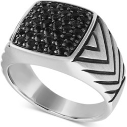 Esquire Men's Jewelry Black Diamond Cluster Ring (1-1/4 ct. t.w.) in Sterling Silver, Created for Macy's