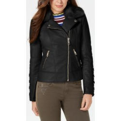 Guess Faux-Fur-Collar Faux-Leather Jacket found on MODAPINS from Macy's for USD $79.99