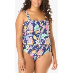 Anne Cole Plus Size Paisley-Print One-Piece Blouson Swimsuit Women's Swimsuit