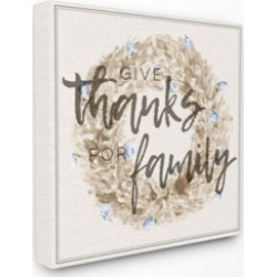 """Stupell Industries Give Thanks for Family Strawflower Wreath Canvas Wall Art, 17"""" x 17"""""""