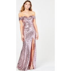B Darlin Juniors' Off-The-Shoulder Sequined Gown found on MODAPINS from Macy's for USD $109.00