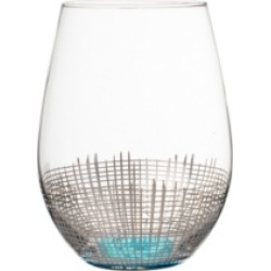 Jay Imports Annalise Silver/Lt Blue Set of 4 Stemless