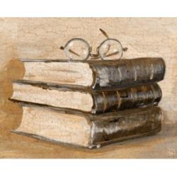 "Creative Gallery Taking A Break - Books Glasses 20"" x 16"" Canvas Wall Art Print"