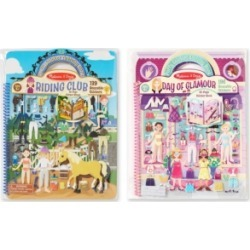 Melissa and Doug Deluxe Puffy Sticker Album Bundle - Day of Glamour & Horse Scenes
