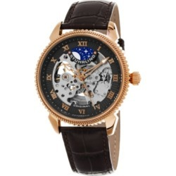 Stuhrling Original Men's Automatic Skeleton Watch, Rose Tone Case on Brown Alligator Embossed Genuine Leather Strap, Gray Skeletonized Dial, With Rose Tone, White, and Blue Accents