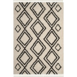 Safavieh Moroccan Fringe Shag Cream and Charcoal 4' X 6' Area Rug found on Bargain Bro from Macy's for USD $291.84