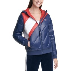 Tommy Hilfiger Sport Striped Hooded Puffer Jacket found on Bargain Bro from Macy's for USD $59.05