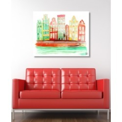 """Creative Gallery Gracht In Amsterdam in Orange Abstract 16"""" x 20"""" Acrylic Wall Art Print"""