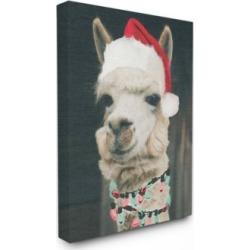 "Stupell Industries Christmas Llama Canvas Wall Art, 24"" x 30"""