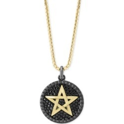 "Effy Men's Star Circular 22"" Pendant Necklace in Sterling Silver and 14k Gold"