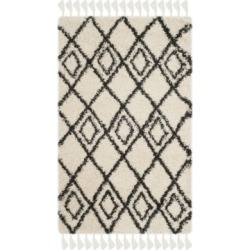 Safavieh Moroccan Fringe Shag Cream and Charcoal 3' X 5' Area Rug found on Bargain Bro from Macy's for USD $182.40