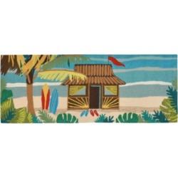 """Liora Manne Front Porch Indoor/Outdoor Tiki Hut Multi 2'6"""" x 4' Area Rug"""