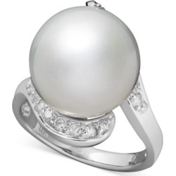 14k White Gold Ring, Cultured South Sea Pearl (13mm) and Diamond (1/3 ct. t.w.) Ring found on MODAPINS from Macy's Australia for USD $1177.09