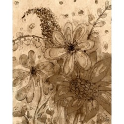 """Creative Gallery Smiley Flowers in Your World in Sepia 36"""" x 24"""" Canvas Wall Art Print"""