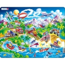 Larsen Puzzles Cars, Boats, Trains, and Airplanes Educational Jigsaw Puzzle 18 Piece Tray Frame Style Puzzle