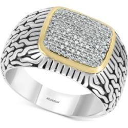 Effy Men's Diamond Cluster Ring (1/3 ct. t.w.) in Sterling Silver & 14k Gold