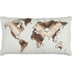 """Rizzy Home 20"""" x 20"""" World Map Pillow Cover"""