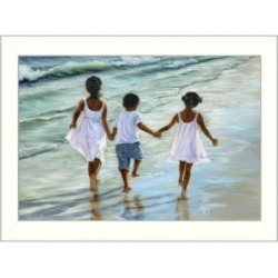 Trendy Decor 4U Running on the Beach By Georgia Janisse, Printed Wall Art, Ready to hang, White Frame, 14