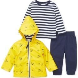 Little Me Baby Boys 3-Pc. Hooded Sailboat-Print Jacket, Striped Top & Jogger Pants Set