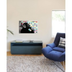 """iCanvas """"The Thinker Monkey Dots Close Up"""" by Banksy Gallery-Wrapped Canvas Print (18 x 26 x 0.75)"""