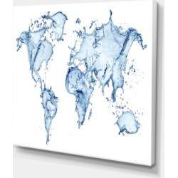 Designart World Map Water Splash Abstract Map Canvas Art Print - 40