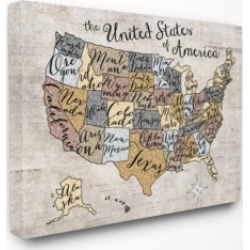 Stupell Industries Home Decor United States Map Typography Art Canvas Wall Art, 30