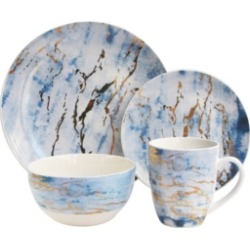 Jay Imports Marble Blue/Gold 16Pc Dinnerware Set