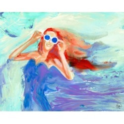 """Creative Gallery Girl In The Wind in Blue Abstract 20"""" x 16"""" Canvas Wall Art Print"""