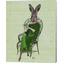 Lady Bella Rabbit Taking Tea By Fab Funky Canvas Art
