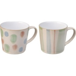 Denby Pastel Multi Set of 2 Mugs
