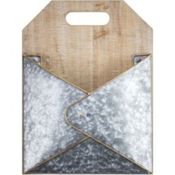 American Art Decor 1 Pocket Wood Galvanized Mail Magazine Rack
